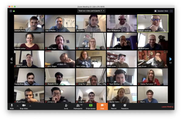 The entire Numerated company participates in an all-hands meeting, remotely, using video chat in an effort to practice social distancing.